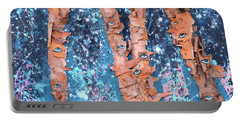 Portable Battery Charger featuring the mixed media Birch Trees With Eyes by Genevieve Esson