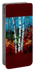 Portable Battery Charger featuring the painting Birch Woods 2 by Sonya Nancy Capling-Bacle