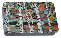 Birch Woods Portable Battery Charger by Karla Gerard