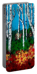 Portable Battery Charger featuring the painting Birch Woods by Sonya Nancy Capling-Bacle