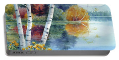 Birches At White Lake In Autumn Portable Battery Charger