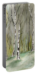 Birches Before Spring Portable Battery Charger