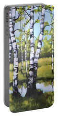 Birches In Spring Mood Portable Battery Charger