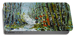 Birches Near Waterfall Portable Battery Charger