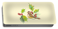 Bird Holly And Berries Portable Battery Charger