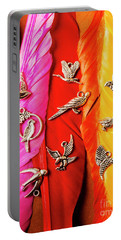 Bird Icons And Rainbow Feathers Portable Battery Charger