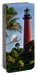 Bird In Flight Under Jupiter Lighthouse, Florida Portable Battery Charger