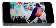 San Francisco Blue Bird Painting Mural In California Portable Battery Charger