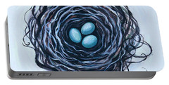 Portable Battery Charger featuring the painting Bird Nest And Eggs by Elizabeth Robinette Tyndall