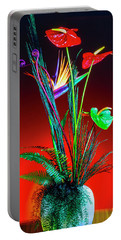 Bird Of Paradise And Anthuriums In Vase Portable Battery Charger