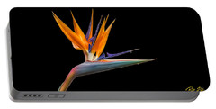 Bird Of Paradise Flower On Black Portable Battery Charger