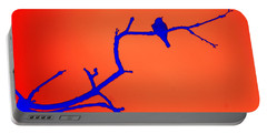 Bird On A Branch At Sunset Portable Battery Charger