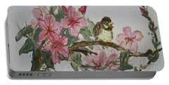 Portable Battery Charger featuring the painting Bird On Blossoms by Avonelle Kelsey