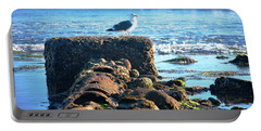 Bird On Perch At Beach Portable Battery Charger