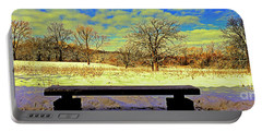 Bird Watchers Bench Winter Crabtree Nature Center Cook County Il Portable Battery Charger