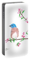 Minimal Bird And Cherry Flowers Portable Battery Charger