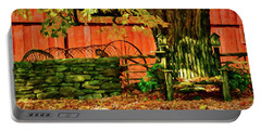 Portable Battery Charger featuring the photograph Birdhouse Chair In Autumn by Jeff Folger