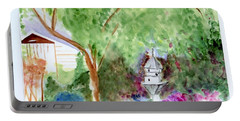 Portable Battery Charger featuring the painting Birdhouse by Jamie Frier