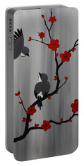 Birds And Blooms In Red Portable Battery Charger