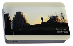 Birds And Fun At Butler Park Austin - Silhouettes 3 Panorama Portable Battery Charger by Felipe Adan Lerma
