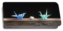 Portable Battery Charger featuring the drawing Birds by Elena Kolotusha