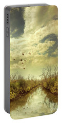 Portable Battery Charger featuring the photograph Birds Flying Over A River by Jill Battaglia