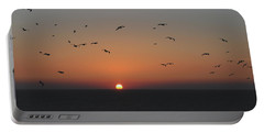 Birds In Sunset Portable Battery Charger by Haleh Mahbod