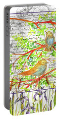 Portable Battery Charger featuring the painting Bluebirds Nature Collage by Cathie Richardson
