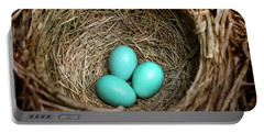 Birds Nest American Robin Portable Battery Charger