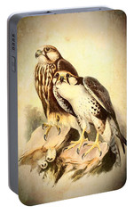 Portable Battery Charger featuring the mixed media Birds Of Prey 3 by Charmaine Zoe
