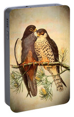 Portable Battery Charger featuring the mixed media Birds Of Prey 4 by Charmaine Zoe