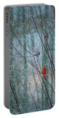 Birds On A Snowy Day Portable Battery Charger