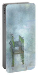 Portable Battery Charger featuring the digital art Birds On Abandoned Dock by Randy Steele