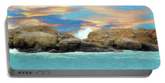 Birds On Ocean Rocks Portable Battery Charger