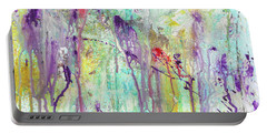 Birds On The Wire - Colorful Bright Modern Abstract Art Painting Portable Battery Charger