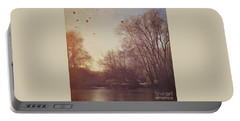 Portable Battery Charger featuring the photograph Birds Take Flight Over Lake On A Winters Morning by Lyn Randle