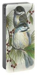 Birds Two And Fir Tree Portable Battery Charger