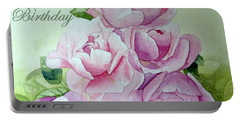 Birthday Peonies Portable Battery Charger by Laurel Best