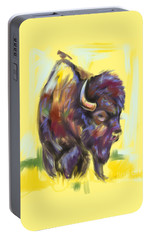 Portable Battery Charger featuring the painting Bison And Bird by Go Van Kampen