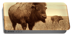 Bison And Calf Portable Battery Charger by American West Legend By Olivier Le Queinec