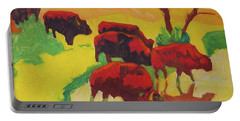 Bison Art Bison Crossing Stream Yellow Hill Painting Bertram Poole Portable Battery Charger