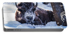 Bison At Frozen Dawn Portable Battery Charger