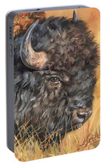 Portable Battery Charger featuring the painting Bison by David Stribbling