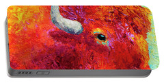 Bison Head Color Study Iv Portable Battery Charger