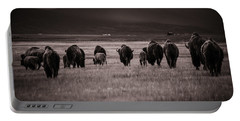 Bison Herd Into The Sunset - Bw Portable Battery Charger by Chris Bordeleau