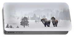 Portable Battery Charger featuring the photograph Bison In The Snow by Gary Lengyel