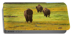 Bison In Wildflowers Portable Battery Charger