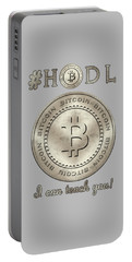 Portable Battery Charger featuring the digital art Bitcoin Symbol Logo Hodl Quote Typography by Georgeta Blanaru