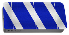 Blue And White Abstract Portable Battery Charger by Tom Janca
