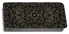 Black And Gold Filigree 002 Portable Battery Charger